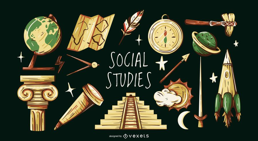 Social studies elements illustration set