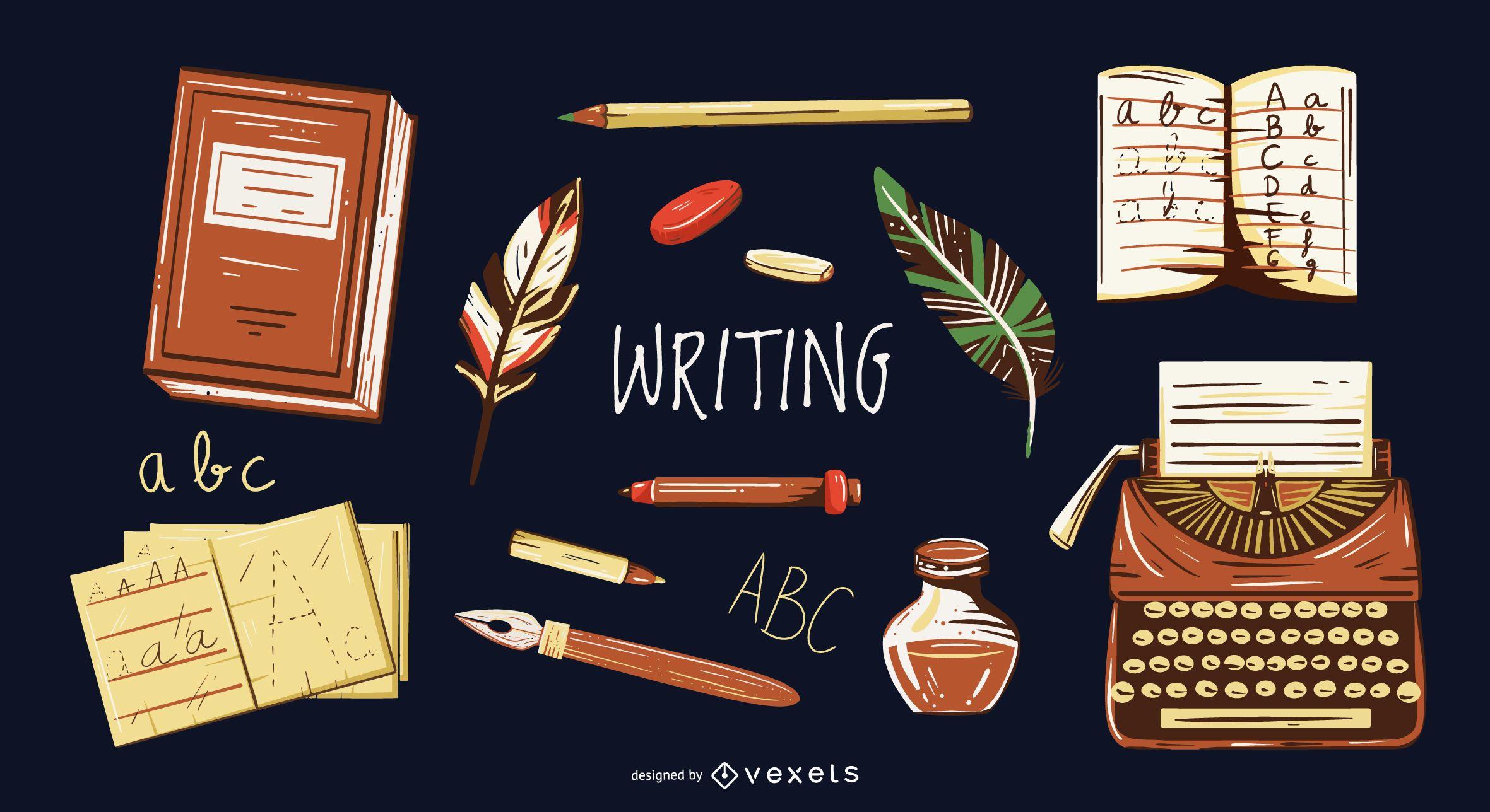 Conjunto de ilustração de elementos de escrita