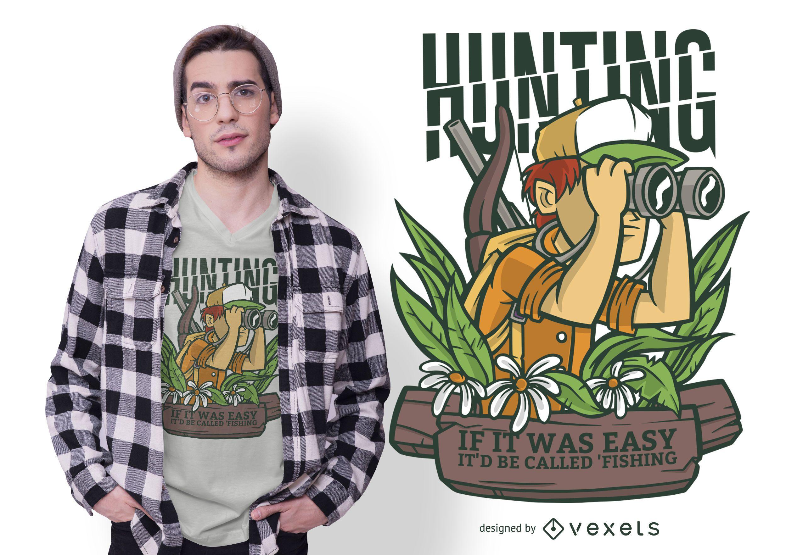 Hunting Cartoon Quote T-shirt Design