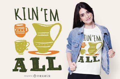 Design engraçado do t-shirt do texto da cerâmica