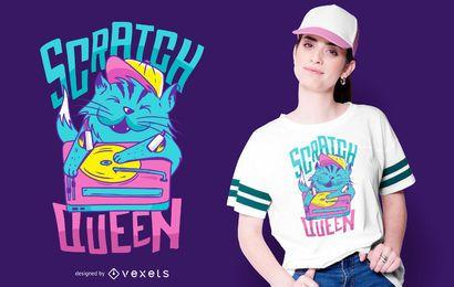 Diseño divertido de la camiseta de DJ del gato