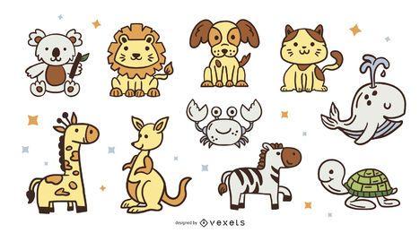 Pacote de desenhos animados de animais fofos