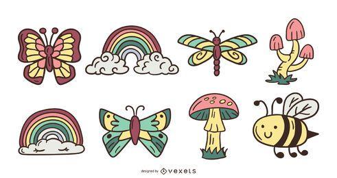 Paquete de ilustración de elementos de naturaleza linda