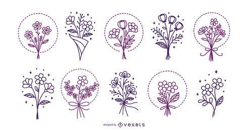 Pacote de ilustração de traço de buquê de flores