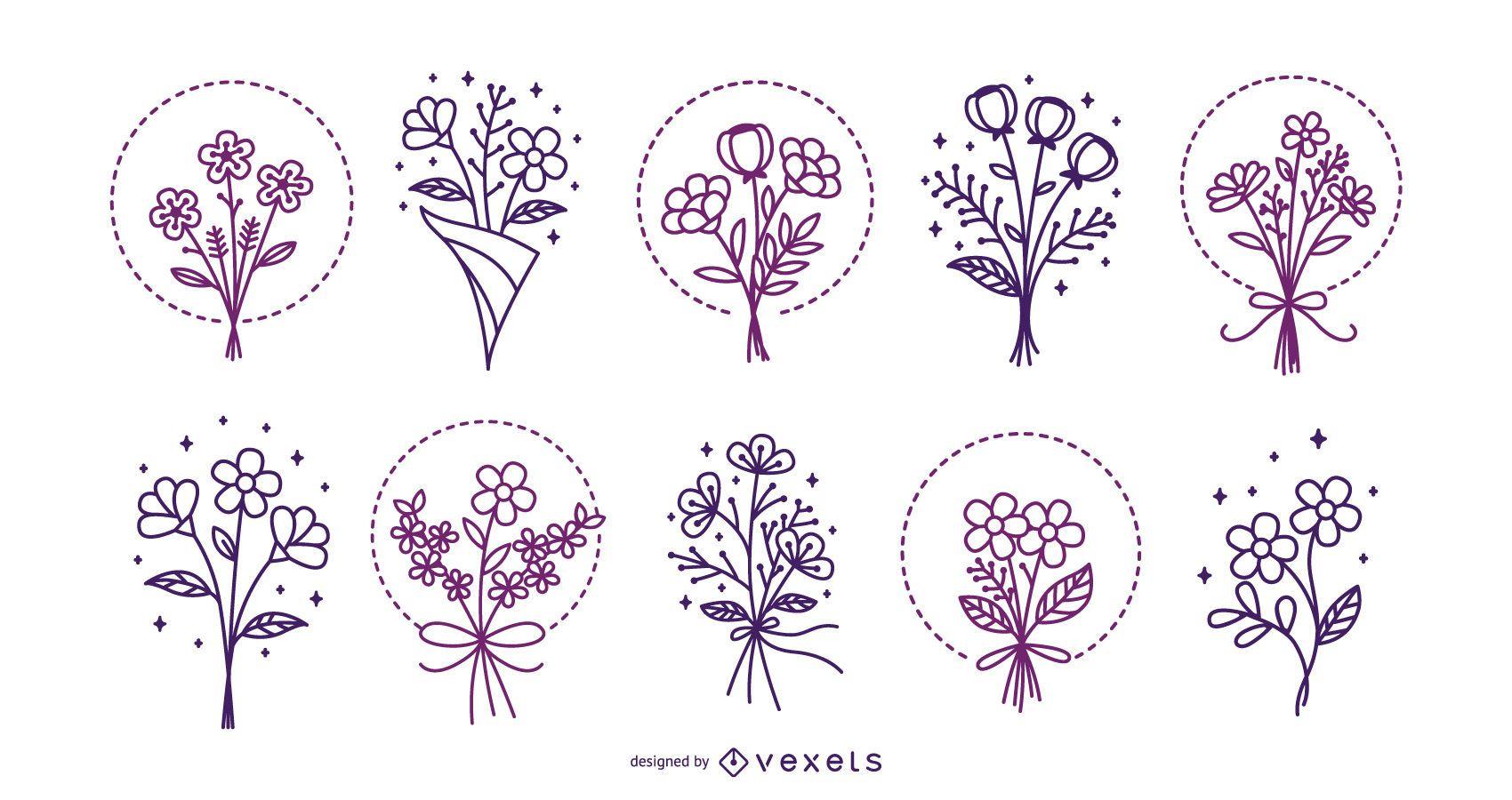 Paquete de ilustración de trazo de ramo de flores