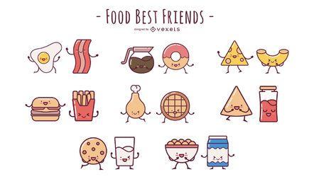 Pacote de desenhos animados de design plano de amigos de comida