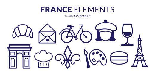 Pacote de elementos de traçado da França