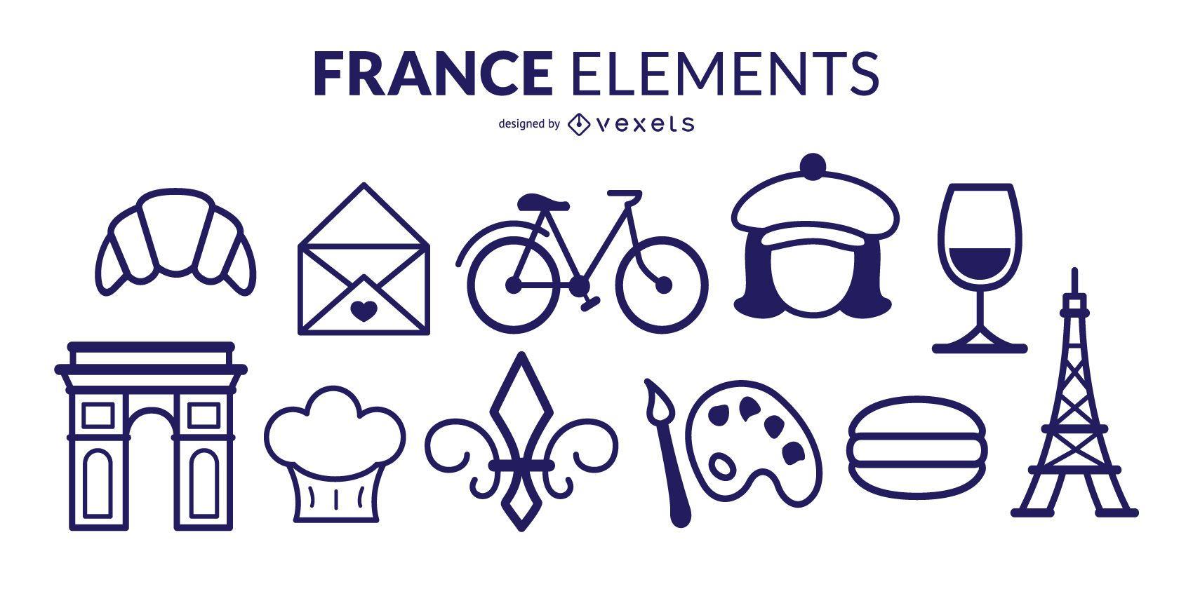 Paquete de elementos de trazo de Francia