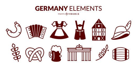Deutschland Stroke Elements Pack