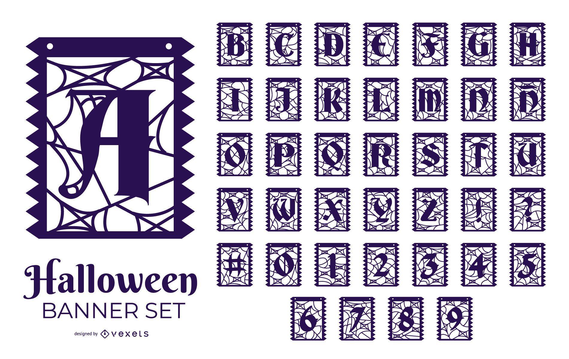Conjunto de diseño de alfabeto y número de Halloween