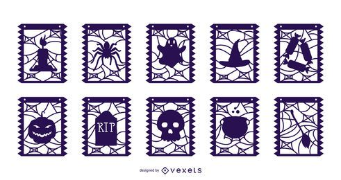 Pacote de banner de guirlanda de elementos de Halloween