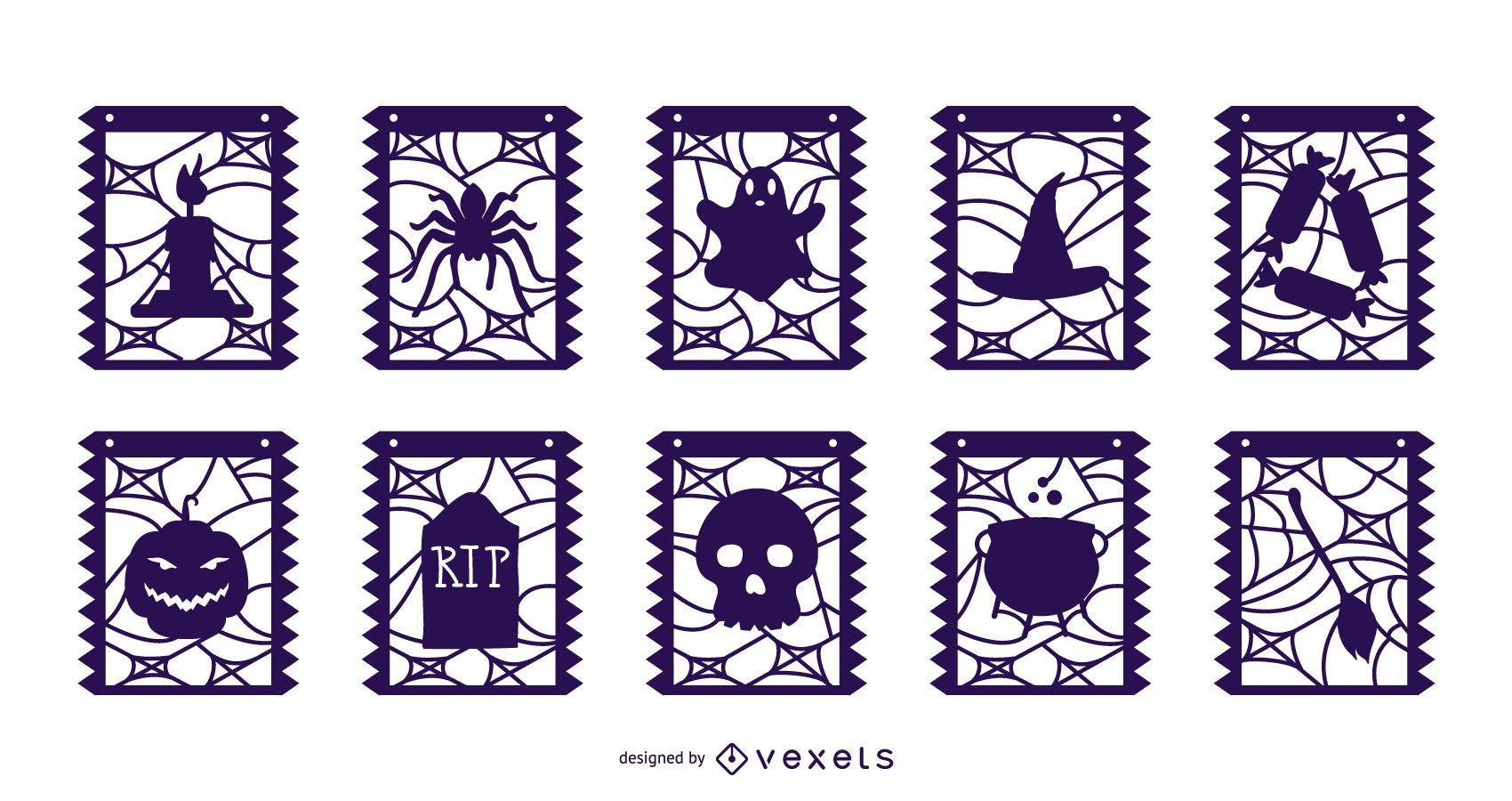 Paquete de banner de guirnalda de elementos de Halloween