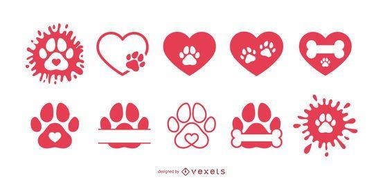 Pacote de ícones de amor de pata de cachorro