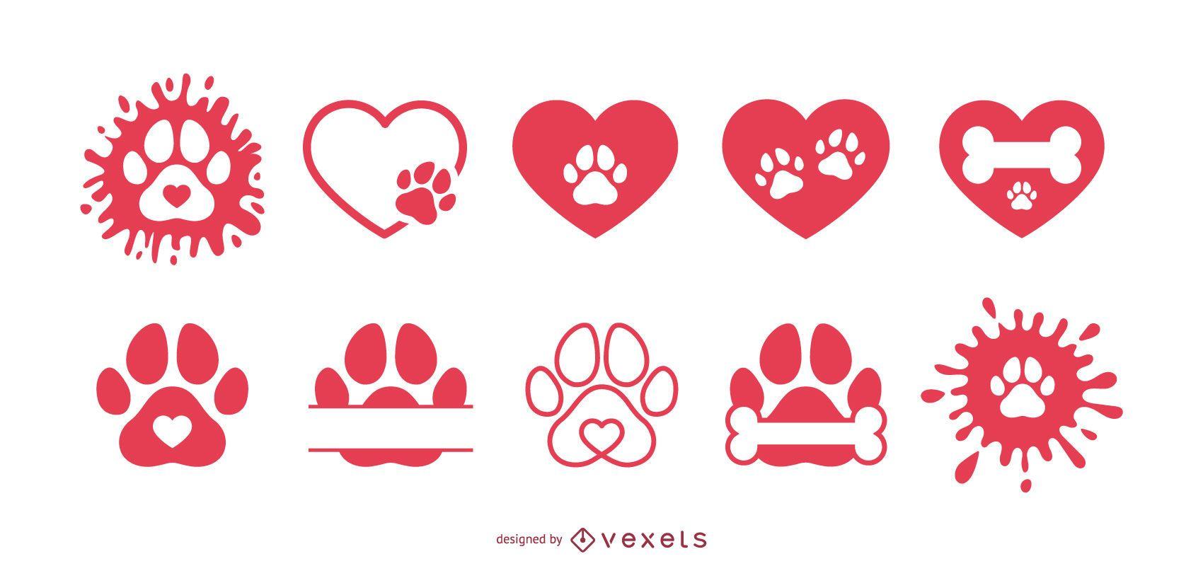 Paquete de iconos de amor de pata de perro