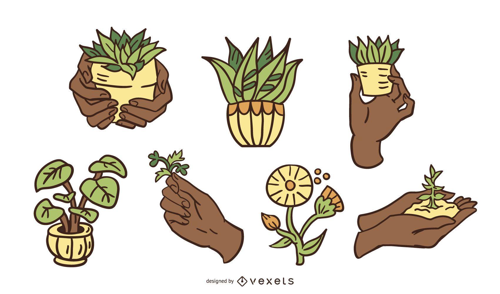 Conjunto de diseño de ilustración de cuidado de plantas