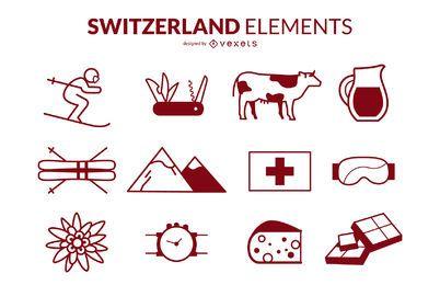 Paquete de diseño de iconos de trazo de Suiza