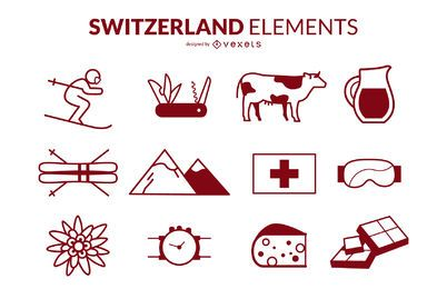 Switzerland Stroke Icons Design Pack