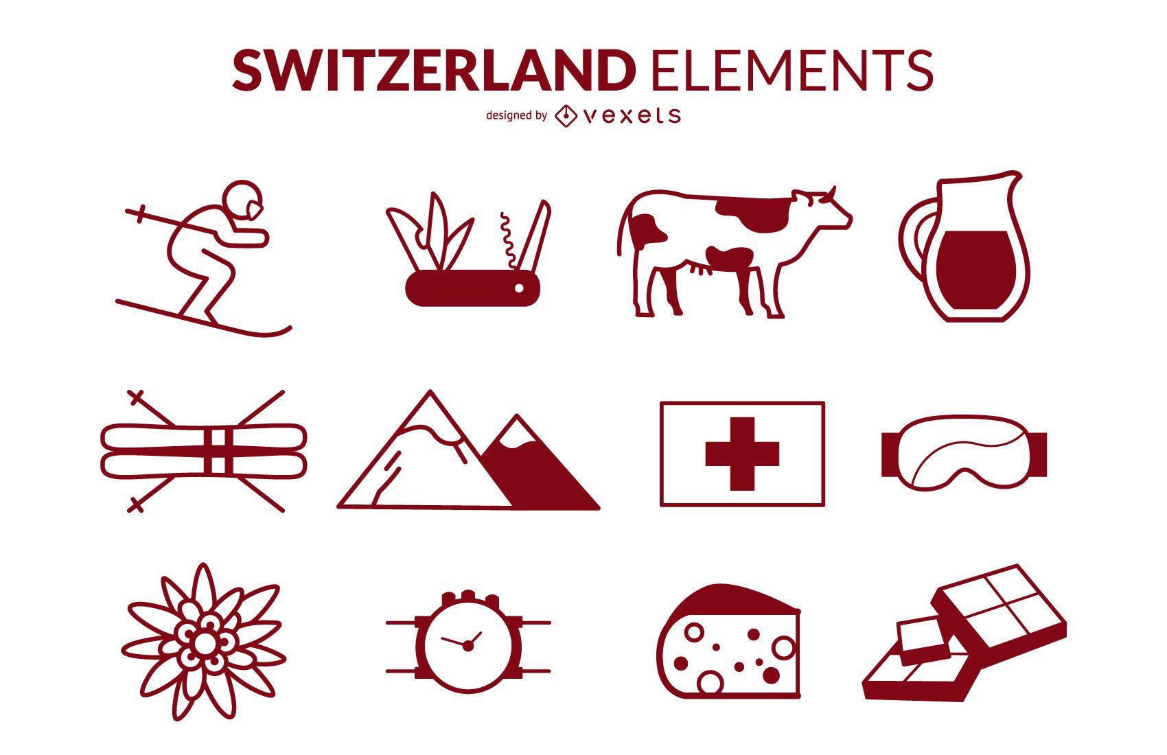 Switzerland Stroke Icons Design Pack