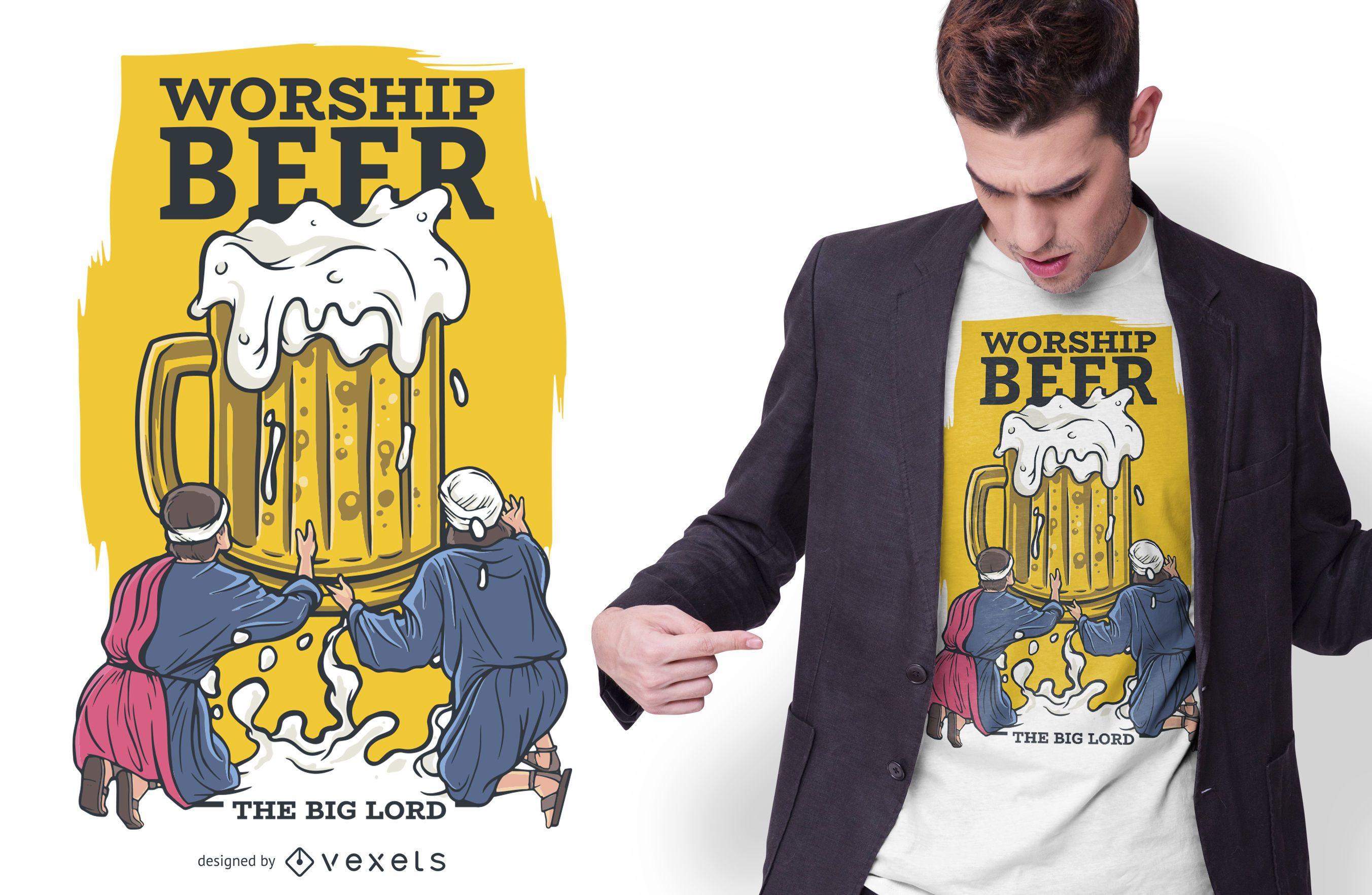 Beer Worship Drinking T-shirt Design