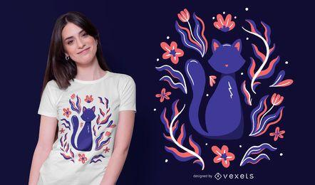 Diseño de camiseta de ilustración de gato de naturaleza