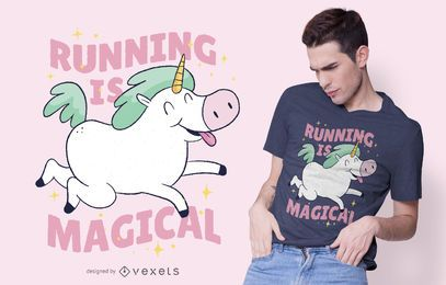 Unicorn Running T-shirt Design
