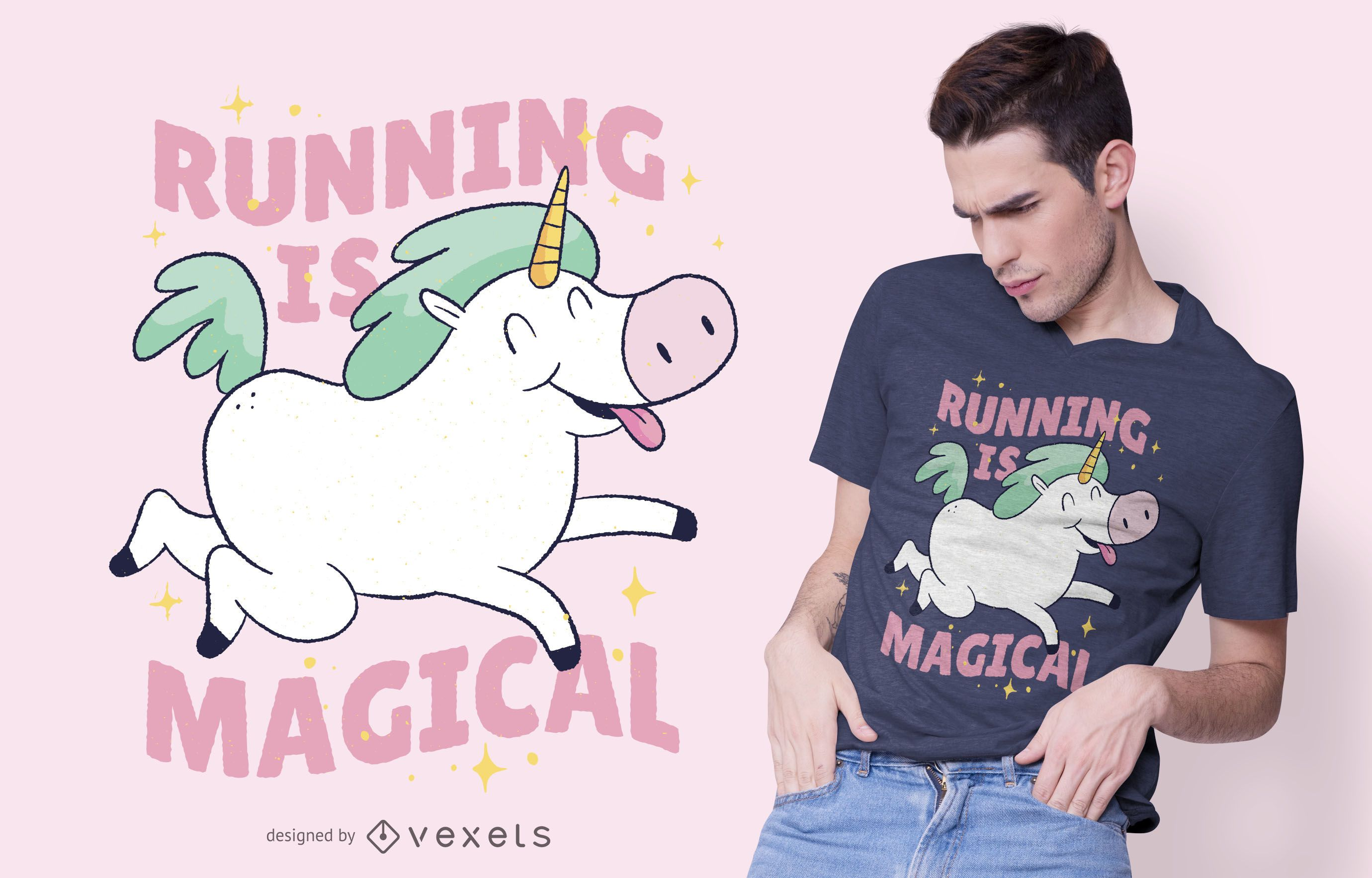 Unicorn Running T-shirt Design