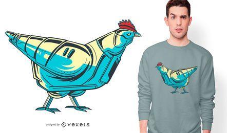 Design de camiseta de robô de frango