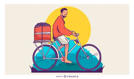 Bike Delivery Man T-shirt Design