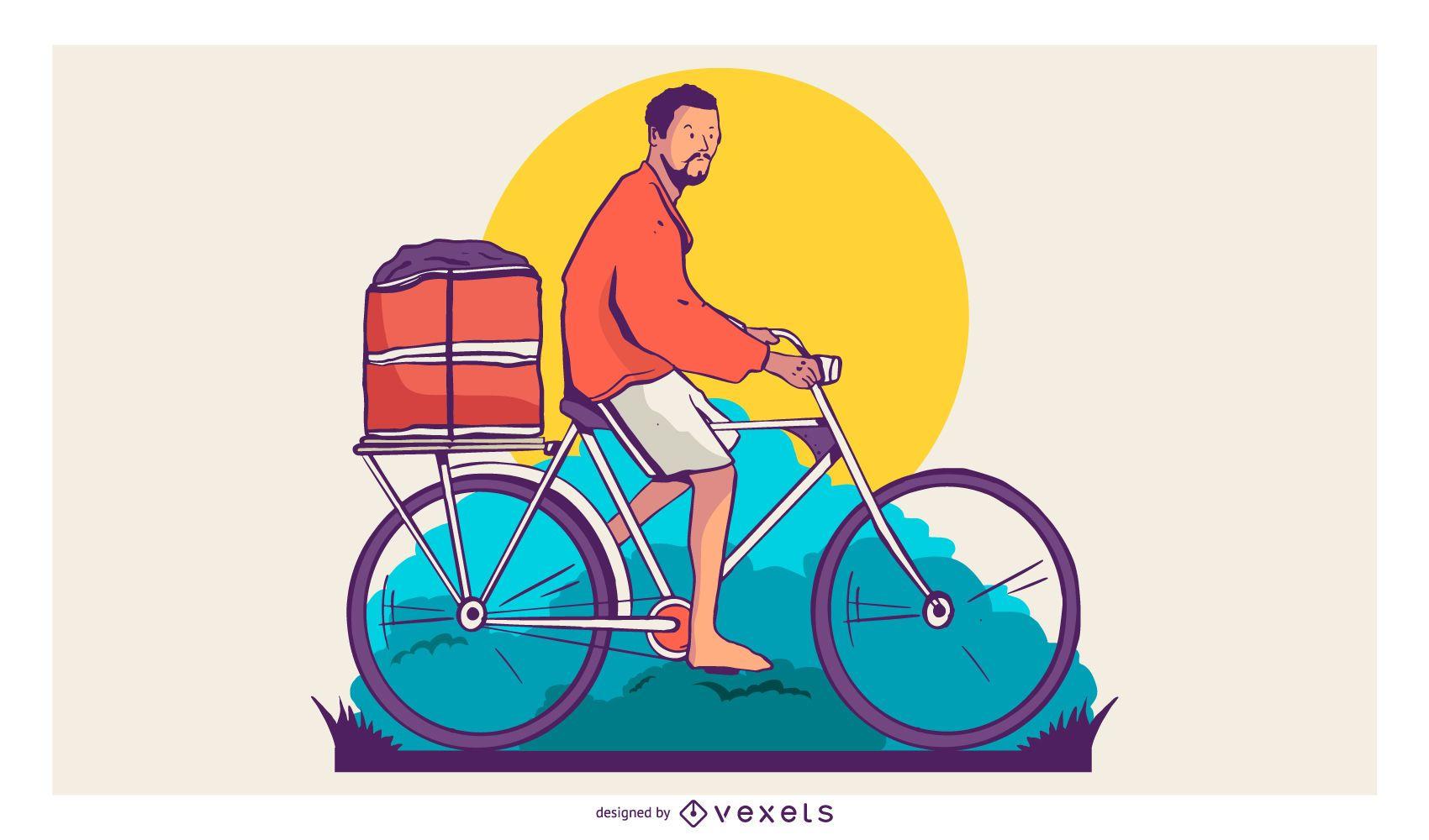Bike Delivery Man T-shirt Design