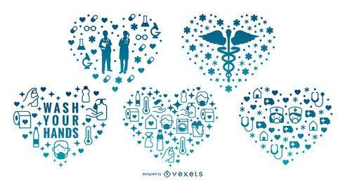Conjunto de corazones de medicina
