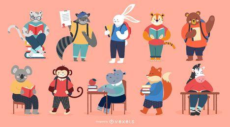 Conjunto de caracteres de animais de escola