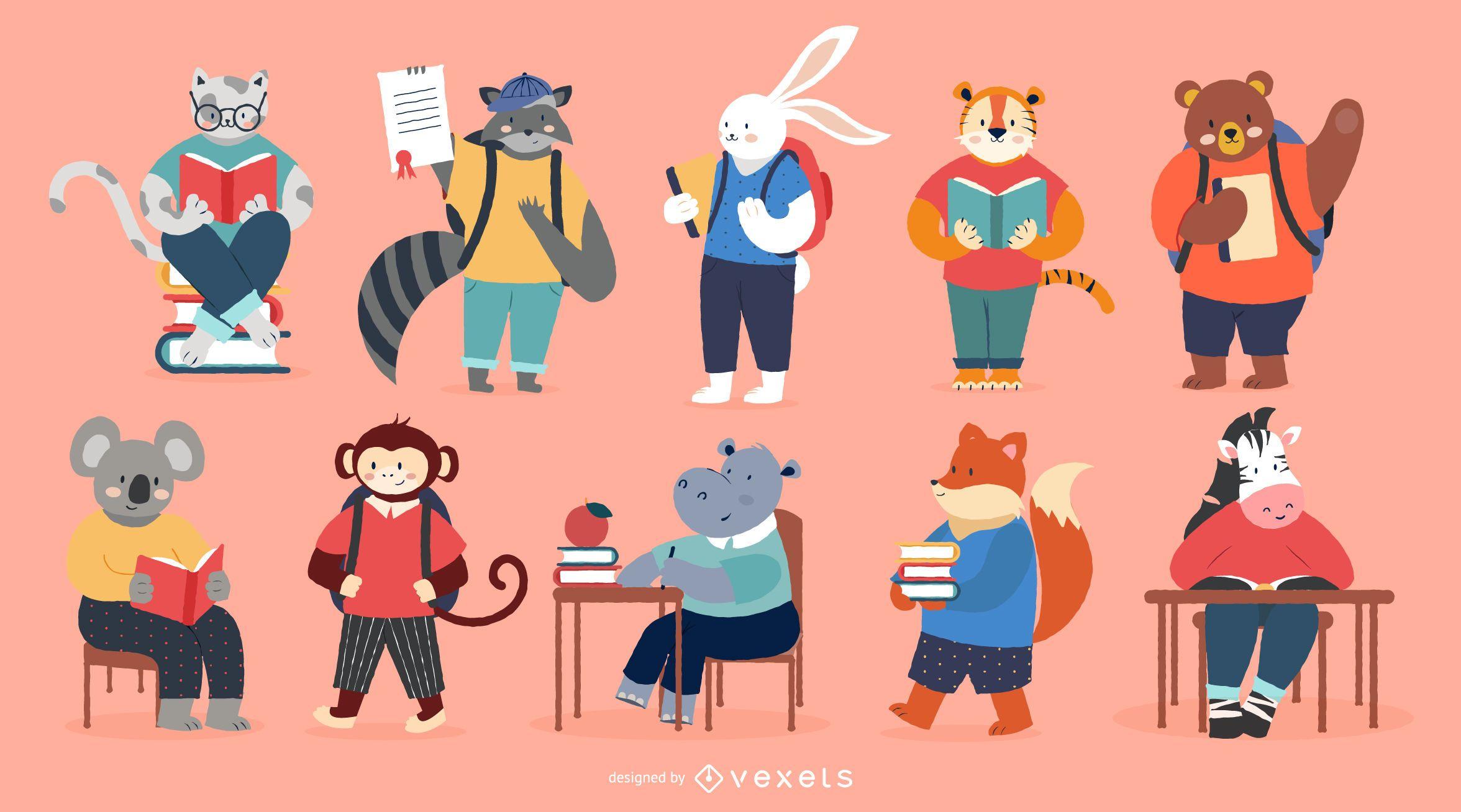 Conjunto de caracteres de animales escolares