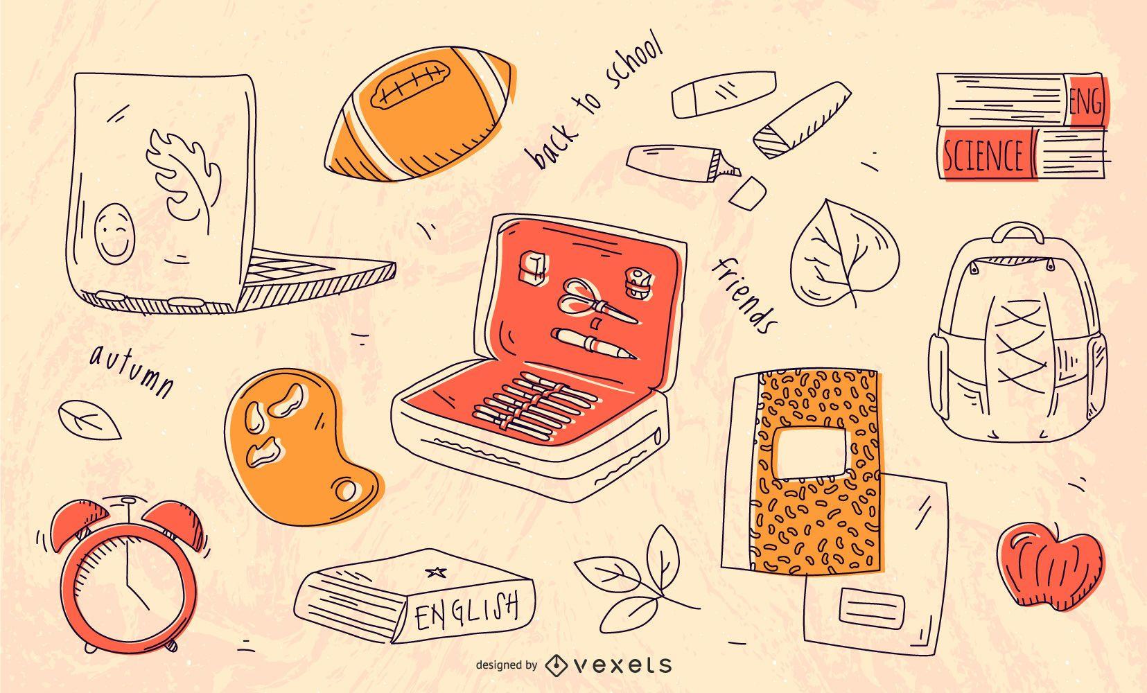 Elementos dibujados a mano de regreso a la escuela
