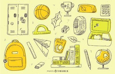 De volta às aulas, conjunto de elementos desenhados à mão