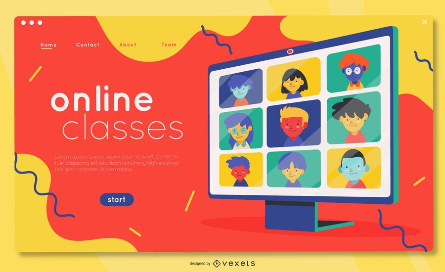 Online courses landing page template