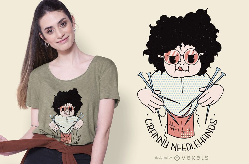 Design de t-shirt de tricô da avó