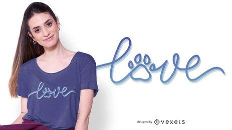 Projeto do t-shirt do texto do amor do cão