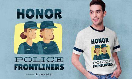 Diseño de camiseta de dibujos animados de policía de primera línea