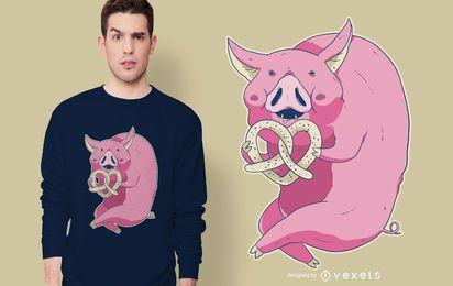 Diseño de camiseta de cerdo pretzel