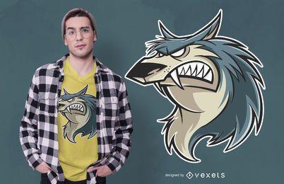 Design de t-shirt dos desenhos animados de lobo