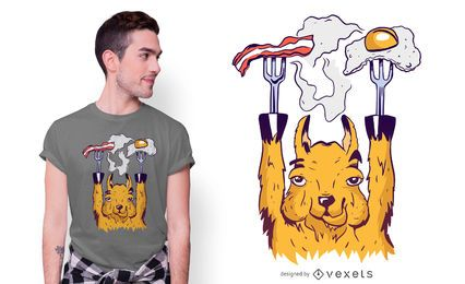 Breakfast Llama T-shirt Design