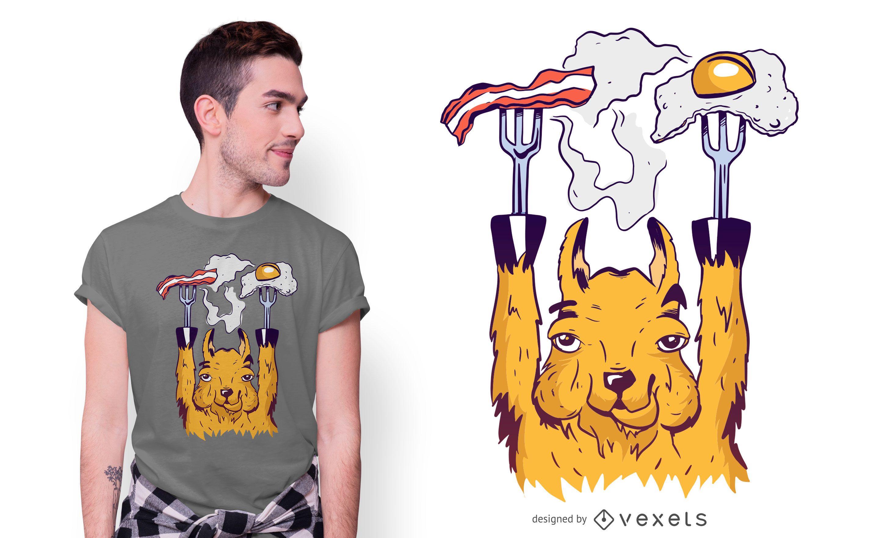 Diseño de camiseta Breakfast Llama