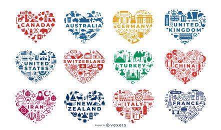 Conjunto de composiciones de corazón de países