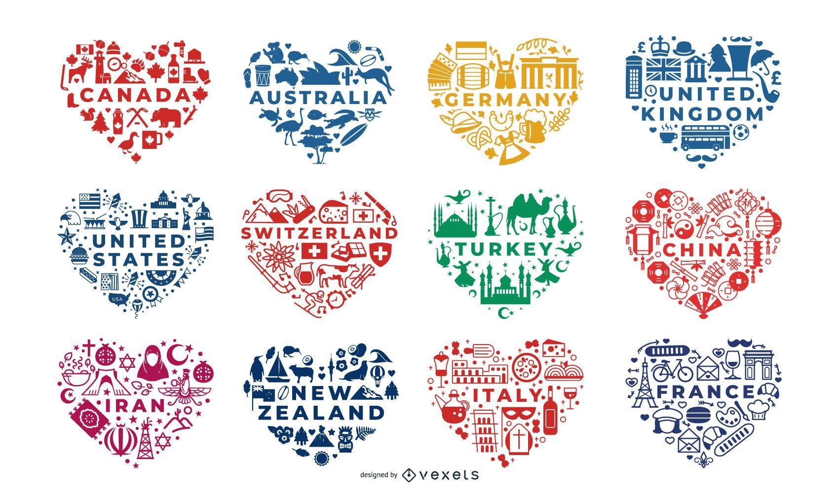 Conjunto de composições de coração de países