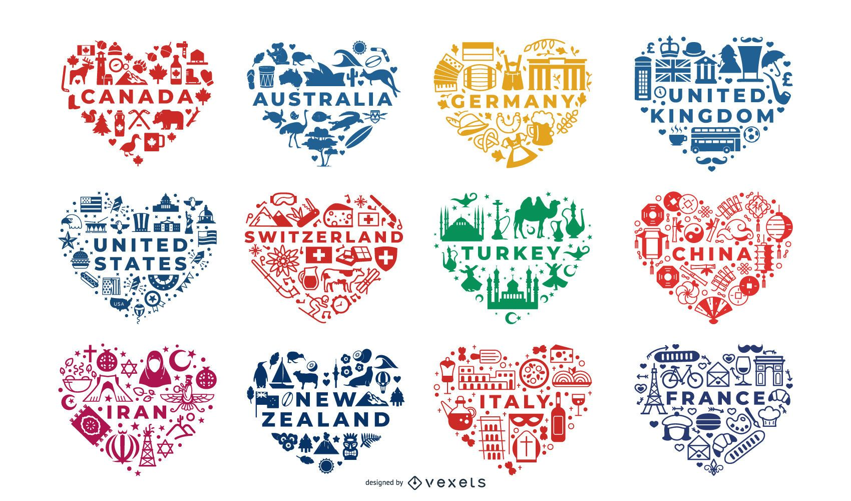 Countries heart compositions set