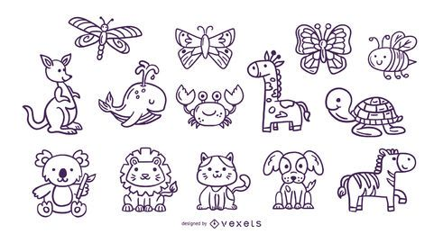 Cute animals stroke collection