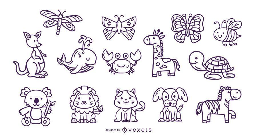 Coleção de traços de animais fofos