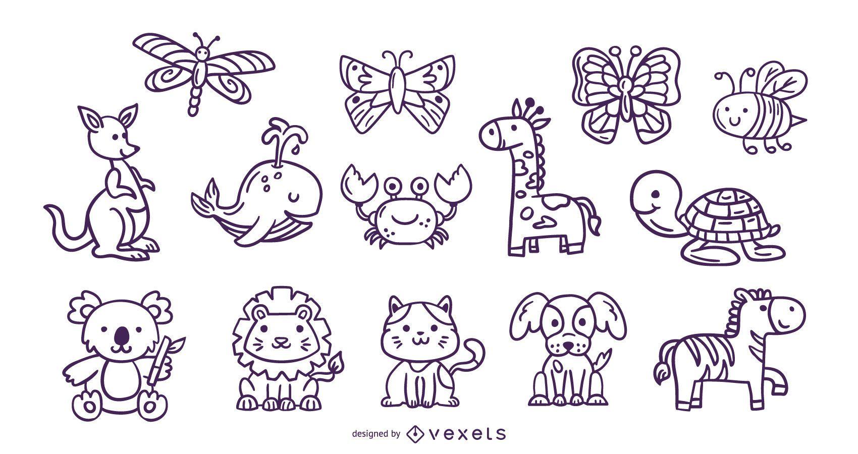 Colección de trazos de animales lindos