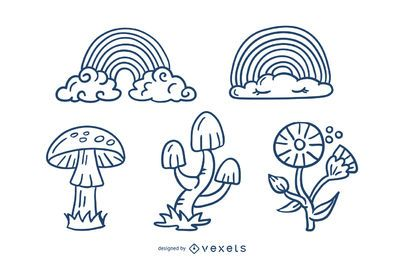 Cute Nature Elements Stroke Design Pack