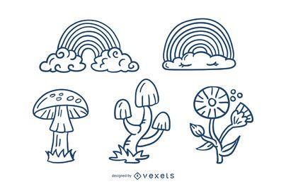 Lindo paquete de diseño de trazos de elementos de la naturaleza